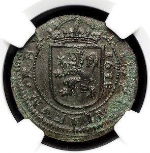 SPAIN. Philip III, 8 Maravedis, 1618, Segovia mint, NGC AU