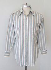 Vtg 60s 70s Arrow Blue Brown Stripe Poly Cotton Dress Shirt M