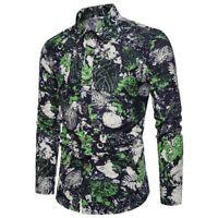 Men's slim fit floral t-shirt dress shirt long sleeve formal luxury stylish