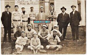 COLLINS CENTER NY ~ BASEBALL TEAM 1907 ~ REAL PHOTO RPPC ~ ERIE COUNTY GOWANDA