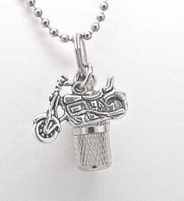 Motorcycle Charm on Capsule Cremation Urn Necklace || Biker Ashes Keepsake