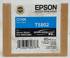 Epson Stylus Pro T5802 CYAN Ink Cartridge for 3800/3880 Exp 12/12 SEALED