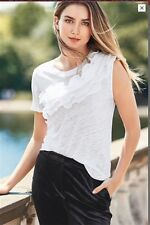 BNWT NEXT White One Shoulder Ruffle LINEN Top 12 RRP £24