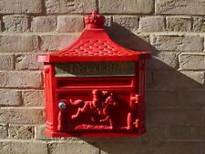 The Marlborough Red Wall Mounted Metal Aluminium Mailing Post Box Traditional