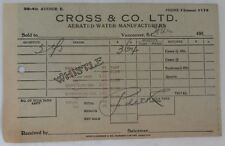 1950's CROSS & CO. AERATED WATER RECEIPT           (INV13253)