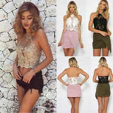 Women's Halter Neck Sheer Tank Crop Top Sleeveless Lace Vest Bustier Tops