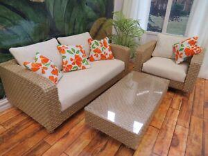 1/12th Scale Handmade Dollshouse Rattan Effect Sofa, Armchair and Table