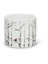 "4.5"" Ceramic Small Birch With Red Cardinal Bird Winter Scene Flower Pot Planter"
