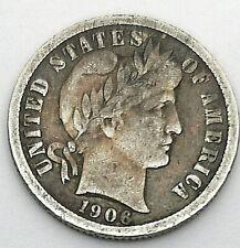 USA 1906 Barber Dime Silver.900 Fine Or Better Coin Scarce
