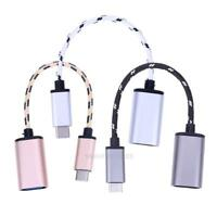 Braided Type-C USB 3.1 Male to USB Female OTG Adapter Data Sync Cable Cord hv2n