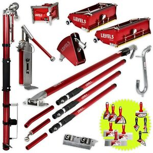 """Drywall Taping and Finishing Set with 10, 12"""" Flat Boxes and Auto Taper LEVEL5"""
