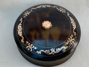 Good Antique English Pique Work Faux Tortoise Shell Circular Box.