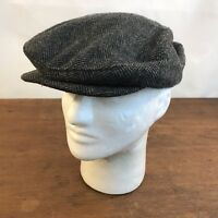 Vintage Gray Herringbone Wool Newsie Newsboy Cap Size Medium (CH27)