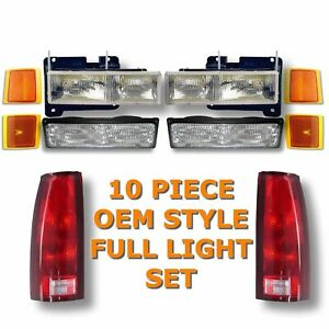 94-98 CHEVY Pickup TRUCK HEADLIGHTS PARK LIGHTS TAIL LIGHTS 10-PIECE KIT Set