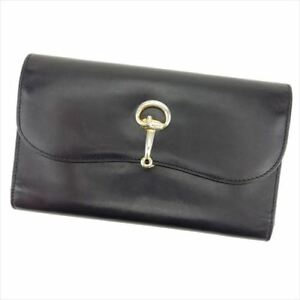Gucci Wallet Purse Trifold Black leather Woman unisex Authentic Used T8414