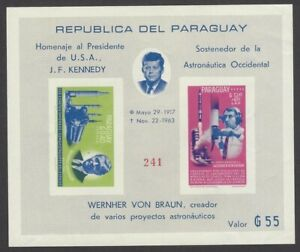 Paraguay #841a John F Kennedy Space souvenir sheet IMPERF MNH
