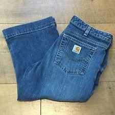 CARHARTT Women's Original Fit Cropped Blue Denim Jeans Stretch Farm Ranch Size 8