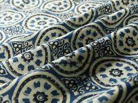 Blue Ajrakh Indian Hand Made Block Print Fabric 100% Cotton Craft By The Yard