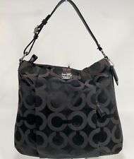 COACH Madison OP Art Sateen Isabelle BLACK Shoulder Hobo Bag 21121