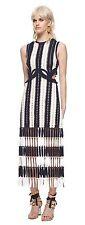 Crochet Cutout Midi Navy Dress