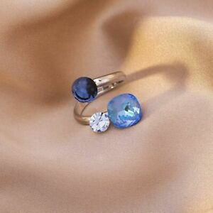 Retro Geometric Ring Blue Stone Opening and Adjustable Jewellery Gift Xmas Party