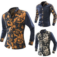 Mens Casual Formal Shirt Slim Fit Floral Print Long Sleeve Shirts Luxury Tops