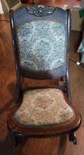 Antique Wood Wooden Folding Rocker Rocking Chair Victorian Sturdy Vintage Green