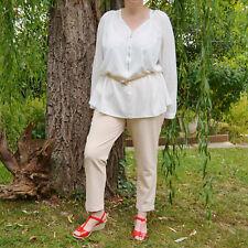 Pantalon chinos fluide Femme Grande Taille 48 beige Maverick  ZAZA2CATS new