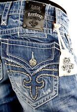 """$220 Mens Rock Revival Jeans """"Jimmy"""" Leather Inserts Straight Leg 32 X 32.5"""
