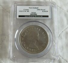 More details for 1953 new zealand qeii coronation proof crown slabbed cgs 85
