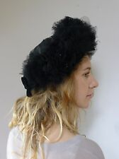 Vintage retro true 1940s deco Pouff black tulle hat velvet bow glamour
