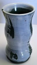 """Handmade Pottery Green & White Vase 6"""" tall 3.25"""" across Unmarked Piece"""