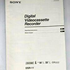 Sony Dsr-11 Operating Instructions User Manual Guide Videocassette Recorder 2J