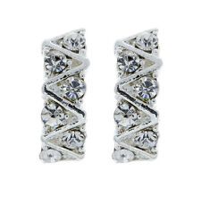 Silver Clip On Earrings - stud earring with clear crystals - Eliza Bello London