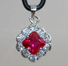 Elegant Created Princess Ruby & Diamond Pendant / Necklace