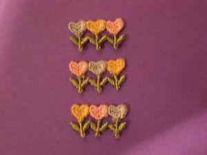CLUSTER TULIP HEART FLOWERS, PASTEL, EMBROIDERY APPLIQUE PATCH LOT, (12 DOZEN)