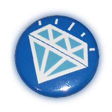 Badge DiAMoND TaTToO Turquoise fond Bleu diamant stylisé pin button Ø25mm .
