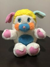"Vintage Original Puffball Popples 1986 Mattel 12"" Plush Toy White Yellow HTF"
