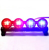 L-046RB 1/10 Monster Truck Body Shell Roof Mount Light Set Red Blue Grid 4 LEDs