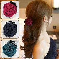 AU_ KQ_ CG_ HK- Cloth Rose Flower Women Hair Claw Clip Clamp Ponytail Holder Hea