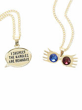 Harry Potter Lunas Glasses Nargles Quote 2 Pack Chain Pendant Necklace Set NEW