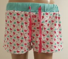 Ladies Size 8/10 Pyjama Bottoms Pastel Hearts Womans Comfy Sleepwear Shorts