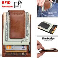 RFID Mens Leather Money Clip Slim Front Pocket Magnetic ID Credit Card Wallet