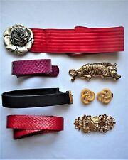 Vtg Belt & Buckle Lot 80's Snakeskin Leather Gay Boyer Metal Lion Tiger Rose M L