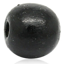 100 Stück Holzperlen Rund, Schwarz, D. 14mm, Loch 4mm Schmuck Basteln Perlen DIY