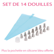 Set 14 douilles à patisserie + pochette silicone bleu cupcake gâteau