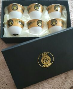 Versace coffee cups 6 in the box. Brand new. Gold colour