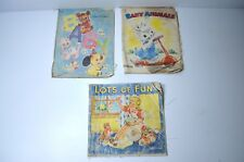 Vintage Set of 3 Cloth Children Books Baby, Baby Animals, Lots of Fun 1940s 50s