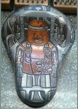 100% Custom handmade leather tooled bobber chopper solo seat Giger baby