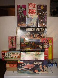 Lot-15 Empty Vintage Boxes- Monster/Car/Rocket/Figures/Die-Cast/Game 1950s-1990s